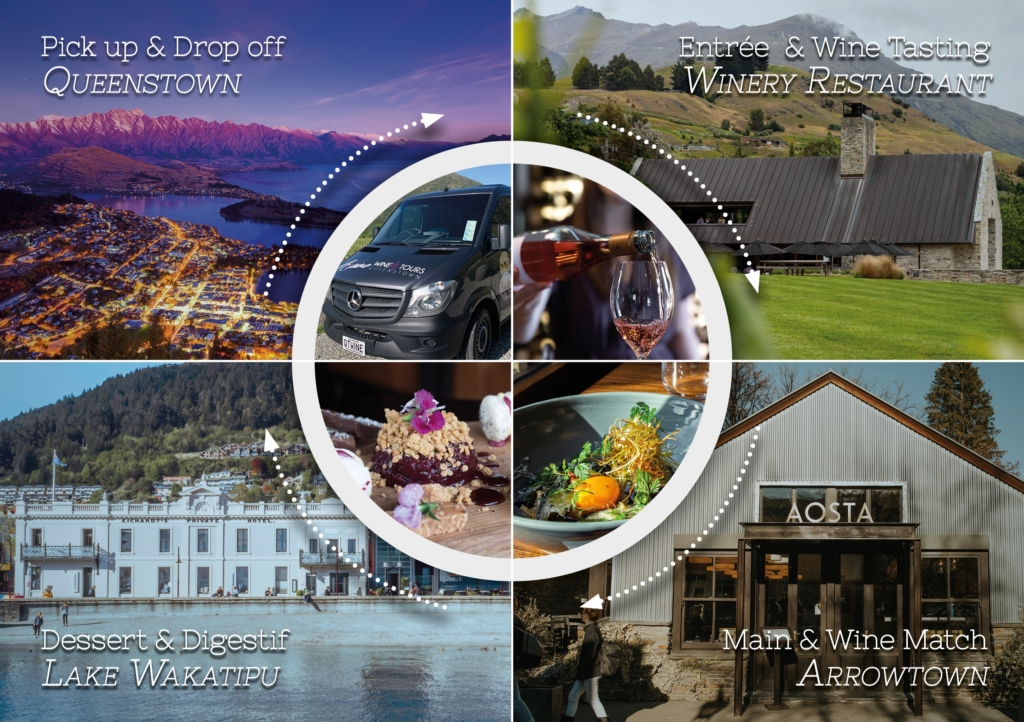 Collage of Queenstown dinner tour meals and their locations